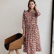 Одежда handmade. Livemaster - original item Burgundy linen dress with wings. Handmade.