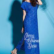 Одежда ручной работы. Ярмарка Мастеров - ручная работа Кружевное синее макси летнее длинное пляжное морское платье из тюля. Handmade.