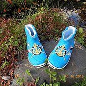 """Обувь ручной работы. Ярмарка Мастеров - ручная работа тапочки детские """"Морские"""". Handmade."""