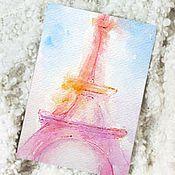 """Открытки ручной работы. Ярмарка Мастеров - ручная работа Акварель """"Париж"""" оригинал открытка. Handmade."""