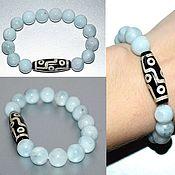 Украшения handmade. Livemaster - original item Bracelet made of natural aquamarine with bead JI 9 eyes. Handmade.
