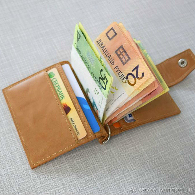 Money clip from genuine leather 'Mini' (sand), Clamps, Moscow,  Фото №1