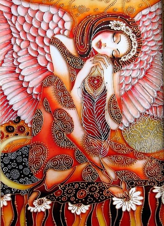 """Fantaisie à la main.  Maîtres juste - à la main.  Acheter """"Angel Dream"""" peinture à vitrail.  Handmade.  crème"""