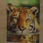 """Картины и панно ручной работы. Ярмарка Мастеров - ручная работа Вышитая картина """" Плывущий тигр"""". Handmade."""