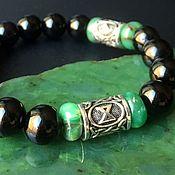 Украшения handmade. Livemaster - original item Agate and Chrysoprase bracelet with runes to attract good Luck and Money. Handmade.