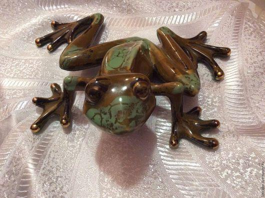 Винтажные сувениры. Ярмарка Мастеров - ручная работа. Купить Большая коллекционная Фарфоровая лягушка. Handmade. Зеленый, фарфоровая статуэтка