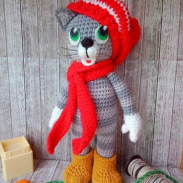 Куклы и игрушки ручной работы. Ярмарка Мастеров - ручная работа Вязаный кот Матроскин. Handmade.