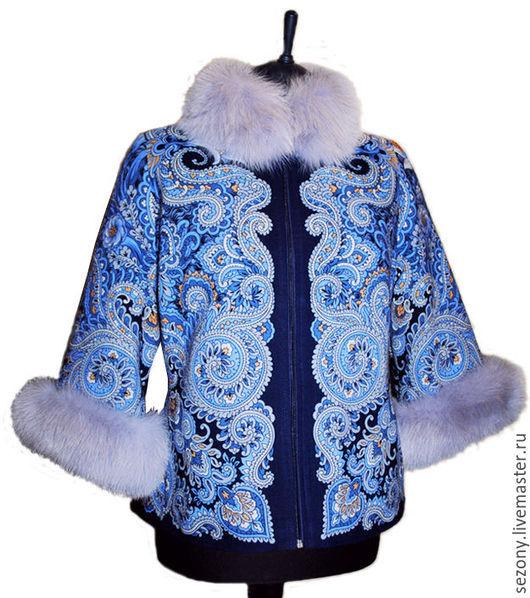 Верхняя одежда ручной работы. Ярмарка Мастеров - ручная работа. Купить Куртка из павловопосадского платка c мехом. Handmade.