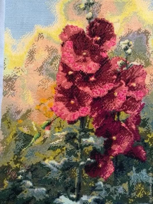 Картины цветов ручной работы. Ярмарка Мастеров - ручная работа. Купить Мальвы. Handmade. Вышивка, панно, Вышивка крестом