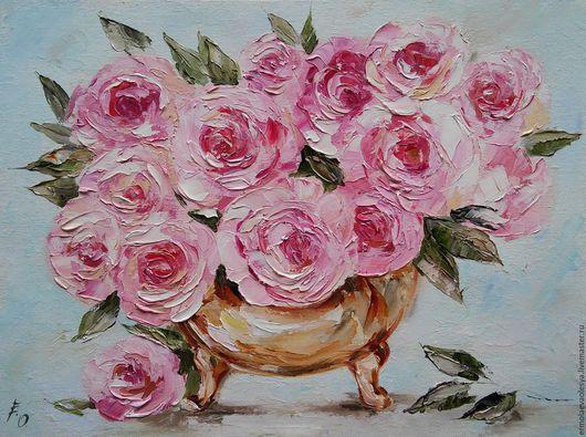 Картина с розами в вазе ручной работы Розовое счастье. Ермолаева Олеся. Ярмарка  мастеров - картина маслом. Handmade.