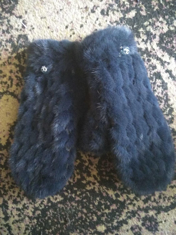 варежки из вязаной норки синего цвета купить в интернет магазине