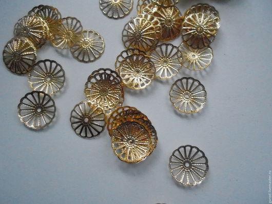 Для украшений ручной работы. Ярмарка Мастеров - ручная работа. Купить Шапочки для бусин из позолоченного металла,13мм(10шт). Handmade. Золотой