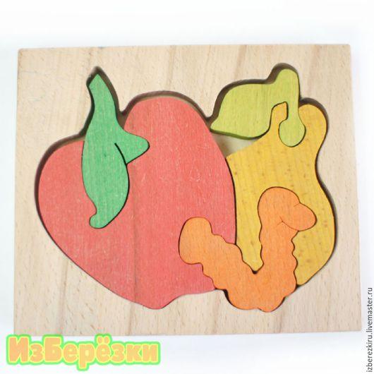 """Еда ручной работы. Ярмарка Мастеров - ручная работа. Купить Деревянный пазл """"Червячок""""  (цветной). Handmade. Яблоко, деревянная игрушка"""