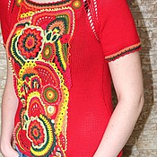 Одежда ручной работы. Ярмарка Мастеров - ручная работа Топ Лето красное. Handmade.
