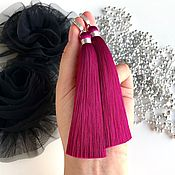 Украшения handmade. Livemaster - original item Earrings-brush Berry marmalade pink purple fuchsia silk cubic Zirconia. Handmade.