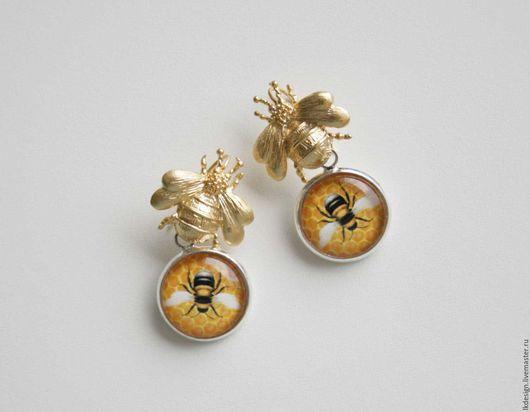 """Серьги ручной работы. Ярмарка Мастеров - ручная работа. Купить Серьги """"Пчелы"""". Handmade. Комбинированный, подарок женщине, соты"""