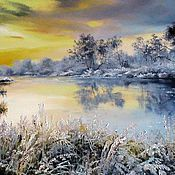 Картины и панно handmade. Livemaster - original item Oil painting peisaj Winter lake. Handmade.