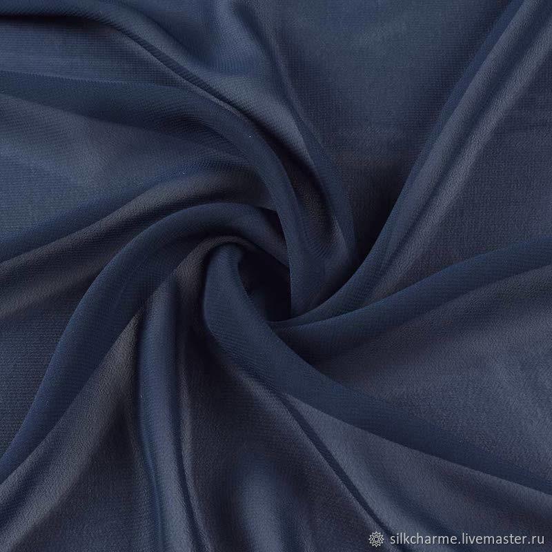 Шифоновый платок Темно-Синий. Натуральный шелк 100, Платки, Москва,  Фото №1