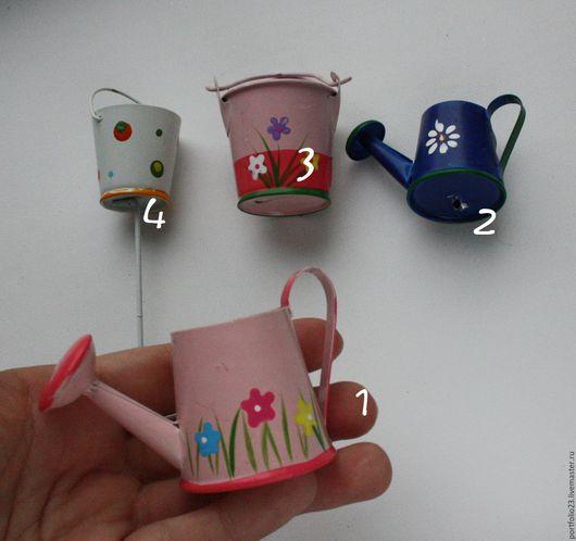 Куклы и игрушки ручной работы. Ярмарка Мастеров - ручная работа. Купить Лейки и вёдра  мини. Handmade. Тёмно-синий, аксессуары
