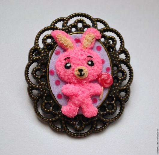 Броши ручной работы. Ярмарка Мастеров - ручная работа. Купить Розовый зайка. Handmade. Зайка, подарок девушке