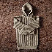 Одежда ручной работы. Ярмарка Мастеров - ручная работа Свитер из овечьей шерсти с капюшоном, коричневый (№8). Handmade.