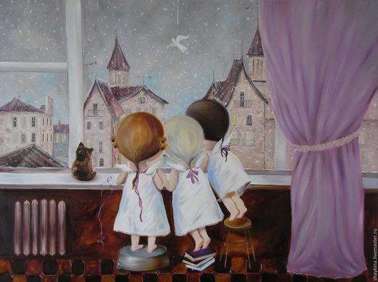 """Юмор ручной работы. Ярмарка Мастеров - ручная работа. Купить Картина маслом.  """"Сказка за окном"""". Handmade. Картина, ангел"""