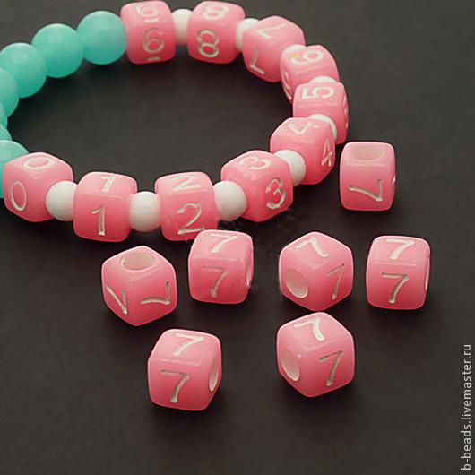 Для украшений ручной работы. Ярмарка Мастеров - ручная работа. Купить Бусины люминисцентные цифра 7 ( розовые ). Handmade.