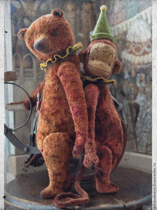 Мишки Тедди ручной работы. Ярмарка Мастеров - ручная работа. Купить Фердинанд и Себастиан. Handmade. Коричневый, мартышка, Новый Год