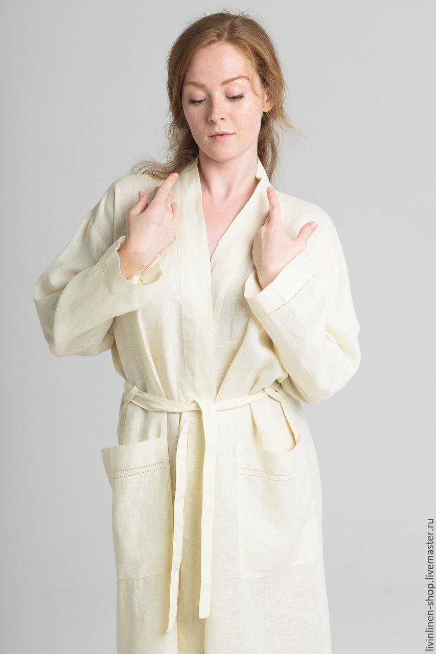 Льняное кимоно. Женский льняной халат для дома и в баню, Халаты, Москва,  Фото №1