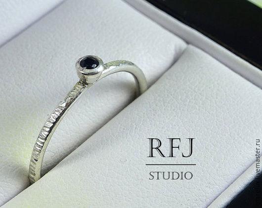 """Кольца ручной работы. Ярмарка Мастеров - ручная работа. Купить Кольцо фактурное """"Черный фианит"""" в серебре MareLux&RFJStudio. Handmade. Серебро"""