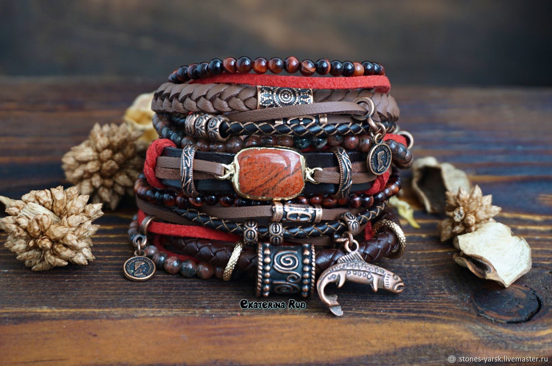 BOHO-chic bracelet with jasper ' Mysterious with Carp', Bead bracelet, Moscow,  Фото №1
