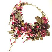 Украшения handmade. Livemaster - original item Burgundy Punch. Necklace and flowers, natural stones and leather. Handmade.