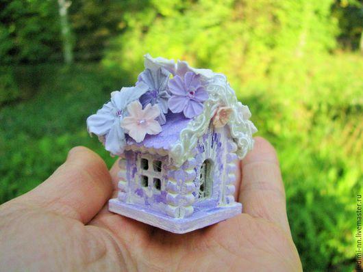 Миниатюра, кукольная миниатюра, домик Фея, фея, Феечка, кукольный домик, миниатюра ночник, мини домик, подарок для девочки, миниатюра сад, мини сад, подарок девочке, миниатюра домик, сиреневый домик,