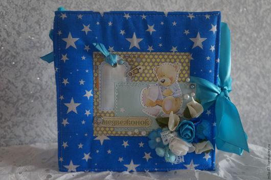 Подарки для новорожденных, ручной работы. Ярмарка Мастеров - ручная работа. Купить Фотоальбом для мальчика на первый год. Handmade. Тёмно-синий