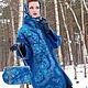 """Верхняя одежда ручной работы. Валяное пальто """"Признание синего"""". GriNat. Ярмарка Мастеров. Войлок, павловопосадский платок"""