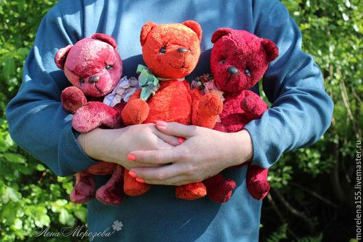 """Мишки Тедди ручной работы. Ярмарка Мастеров - ручная работа. Купить Коллекция мишек - тедди """"Три оттенка красного"""". Handmade."""