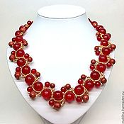 Украшения handmade. Livemaster - original item Krasnoe necklace made of natural stones and beaded