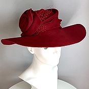 Аксессуары handmade. Livemaster - original item Wide-brimmed velour red hat with a rose. Handmade.