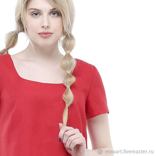 Red dress made of 100% linen, Dresses, Tomsk,  Фото №1
