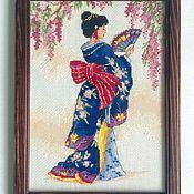 """Картины и панно ручной работы. Ярмарка Мастеров - ручная работа """"Гейша"""", вышивка.. Handmade."""