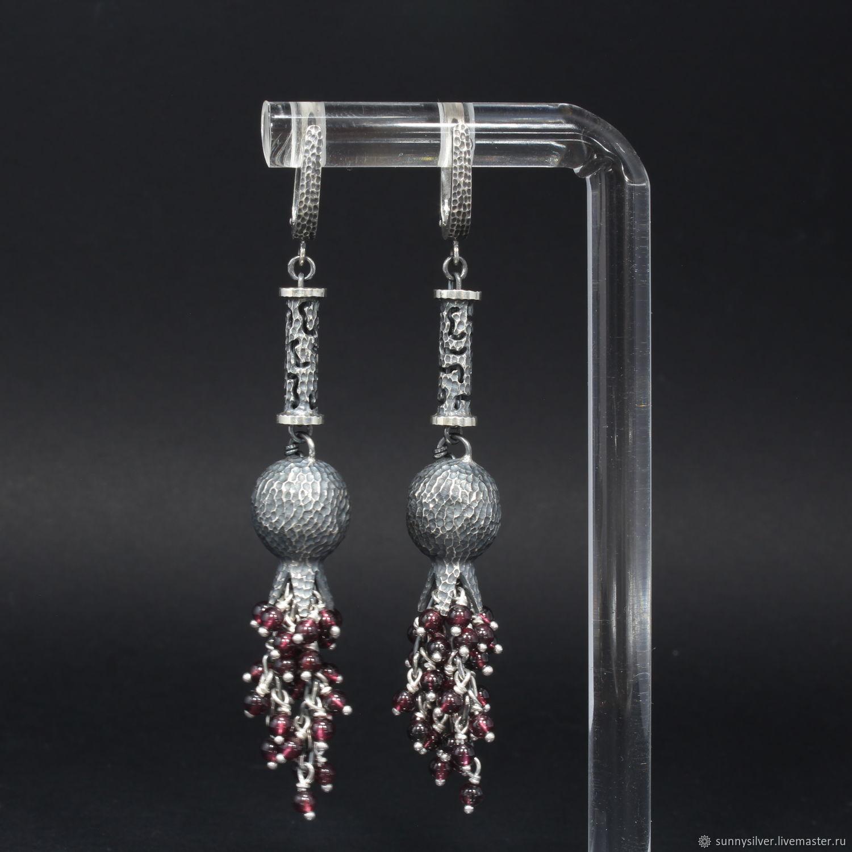 Garnet Brush Earrings with Silver and Garnet Pendants VA0004, Tassel earrings, Yerevan,  Фото №1