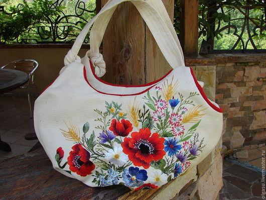 """Женские сумки ручной работы. Ярмарка Мастеров - ручная работа. Купить Вышитая сумка """"Узелок - цветочное ассорти"""" - светлый лён. Handmade."""