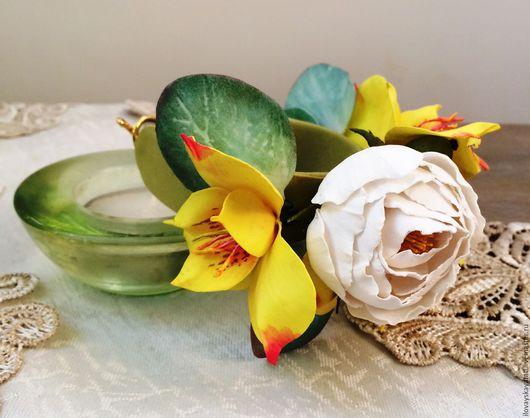 Браслеты ручной работы. Ярмарка Мастеров - ручная работа. Купить Браслет с белой розочкой. Handmade. Желтый, цветы ручной работы