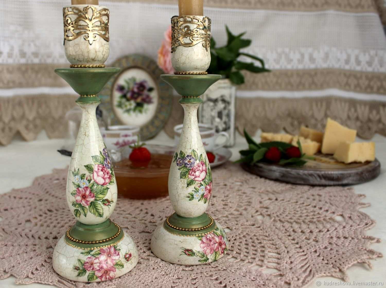 Candlesticks, wooden, Delicate bouquet, decoupage, Candlesticks, Frolovo,  Фото №1