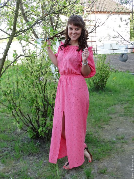 Платья ручной работы. Ярмарка Мастеров - ручная работа. Купить платье летнее в деревенском стиле из вышитого хлопка Розовая мечта. Handmade.
