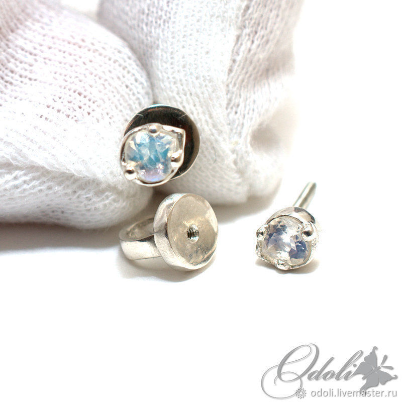 Silver 925 stud earrings with moonstone, Labrador, Stud earrings, Krasnoyarsk,  Фото №1