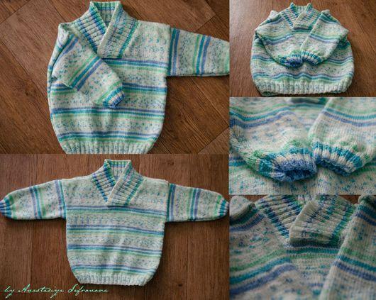 Кофты и свитера ручной работы. Ярмарка Мастеров - ручная работа. Купить Детский свитер. Handmade. Белый, в полоску, гипоаллергенная пряжа