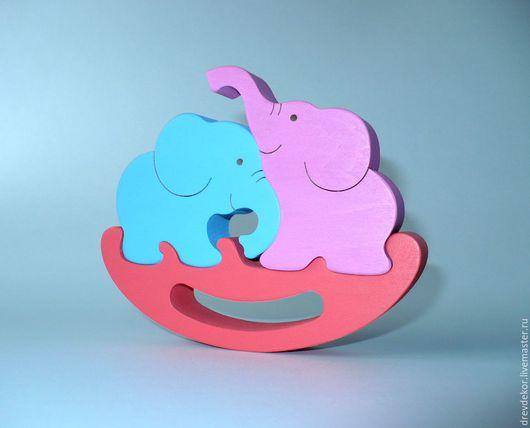 Развивающие игрушки ручной работы. Ярмарка Мастеров - ручная работа. Купить Пазл-сувенир качалка слоники. Handmade. Комбинированный, игрушки