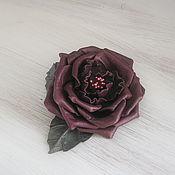 """Украшения ручной работы. Ярмарка Мастеров - ручная работа Цветы из кожи. Брошь- заколка """"Роза"""". Handmade."""