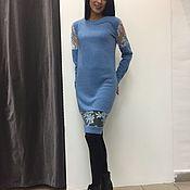 Платье -свитер с кружевом Италии